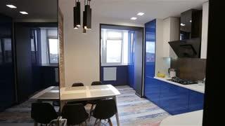 Home interior walk throught kitchen.modern apartment