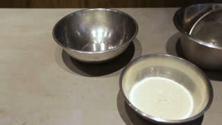 Ingredients for the cake in modern kitchen.Flour, sugar, eggs.