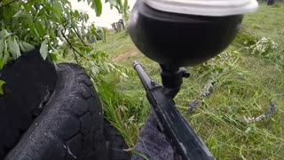 Personal Perspective Of A Paintball Player. Paintball game, first person view