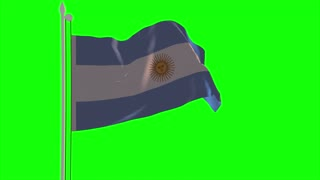 4K Argentina Flag is Fluttering on green background. Isolated waving. Green screen.