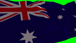 4K Australia Flag is Fluttering on green background. Isolated waving. Green screen.