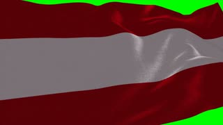4K Austria Flag is Fluttering on green background. Isolated waving. Green screen.