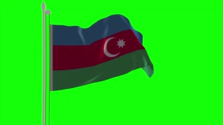 4K Azerbaijan Flag is Fluttering on green background. Isolated waving. Green screen.
