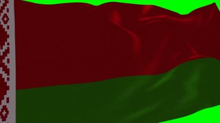 4K Belarus Flag is Fluttering on green background. Isolated waving. Green screen.