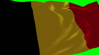 4K Belgium Flag is Fluttering on green background. Isolated waving. Green screen.