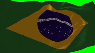 4K Brazil Flag is Fluttering on green background. Isolated waving. Green screen.