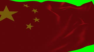 4K China Flag is Fluttering on green background. Isolated waving. Green screen.