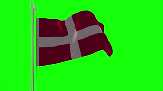 4K Denmark Flag is Fluttering on green background. Isolated waving. Green screen.