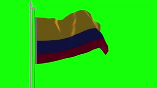 4K Ecuador Flag is Fluttering on green background. Isolated waving. Green screen.