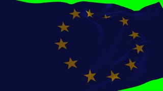 4K European Union Flag is Fluttering on green background. Isolated waving. Green screen.