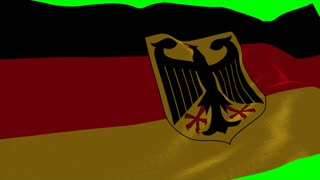4K Germany Flag is Fluttering on green background. Isolated waving. Green screen.