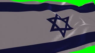 4K Israel Flag is Fluttering on green background. Isolated waving. Green screen.