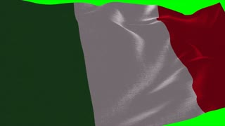 4K Italy Flag is Fluttering on green background. Isolated waving. Green screen.