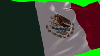 4K Mexico Flag is Fluttering on green background. Isolated waving. Green screen.