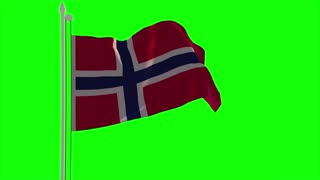 4K Norway Flag is Fluttering on green background. Isolated waving. Green screen.
