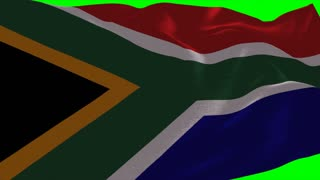 4K South Africa Flag is Fluttering on green background. Isolated waving. Green screen.