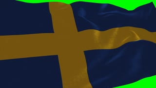 4K Sweden Flag is Fluttering on green background. Isolated waving. Green screen.