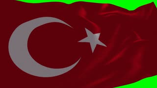 4K Turkey Flag is Fluttering on green background. Isolated waving. Green screen.