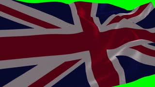 4K United kingdom of great britain Flag is Fluttering on green background. Isolated waving. Green screen.
