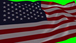4K United States of America Flag is Fluttering on green background. Isolated waving. Green screen.