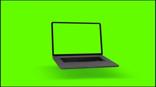 4K Video. Laptop (Notebook) Turning On With Green Screen On A Green Background.