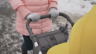 A woman walks with a baby stroller in a winter park