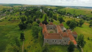 Aerial shooting of the old castle. Svirzh castle