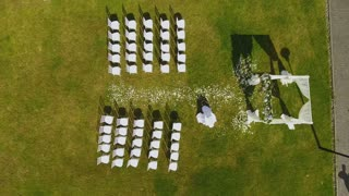 Aerial View of wedding ceremony.