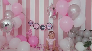 Baby One Year Birthday Celebration Near Mother Stock Video Footage