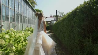 Beautiful bride have fun in the park