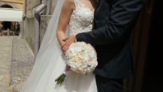 Beautiful wedding couple huggingand kissing