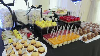 Candy bar in the restaurant, children's party, birthday.Bakery, Cake