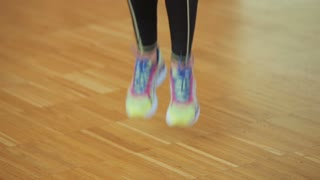 Close up of jumping legs on the jump rope