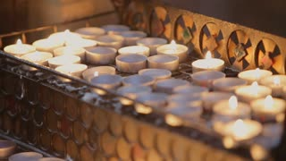 Detailed Shot of Burning Candles in the Church
