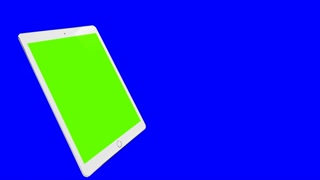 Digital Tablet. Blue background, green screen. Computer generated image. 4K video.