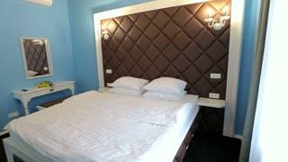 Home interior walk through bedroom. classic apartment