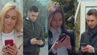 Multiscreen on people using smartphone in everyday life. Nomophobia - People using the mobile phone. No-mobile-phone phobia.