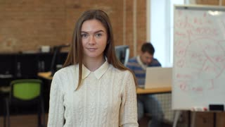 Portrait of successful Businesswoman entrepreneur working at busy office smiling