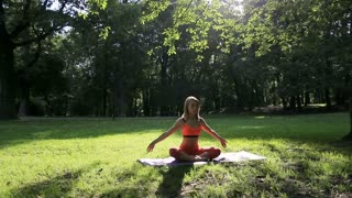 Pretty girl doing yoga and pilates in the park in the sunny morning. Fitness girl training outdoors in landscape of nature.