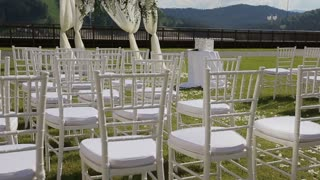 View of Decorations for wedding ceremony in the mountains. Location of an outdoor wedding