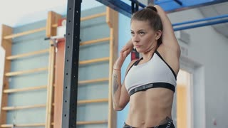 Woman doing workout in the gym before training