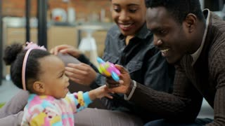 Young african american family have fun at home