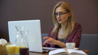 Young attractive businesswoman working on modern laptop in cafe