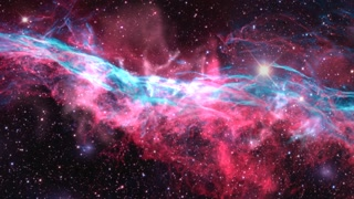 fly through outer space nebula and stars