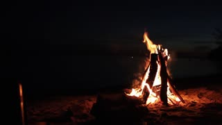 Camp fire in the summer night