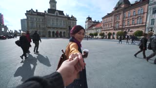 Follow me. Young girl pulls the guys hand
