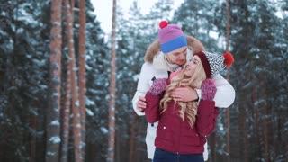 Happy winter travel couple in love