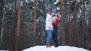 Happy winter travel couple.