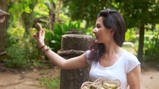 Happy woman traveler feeds the elephant