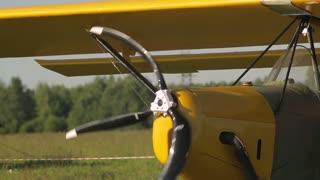 propeller of an old airplane, summer sun